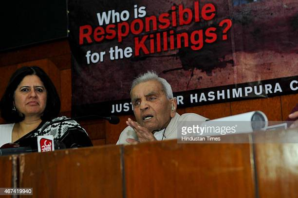 Justice R Sachhar addresses the press conference with families of the victims of the 1987 Hashimpura massacre during a press conference to express...
