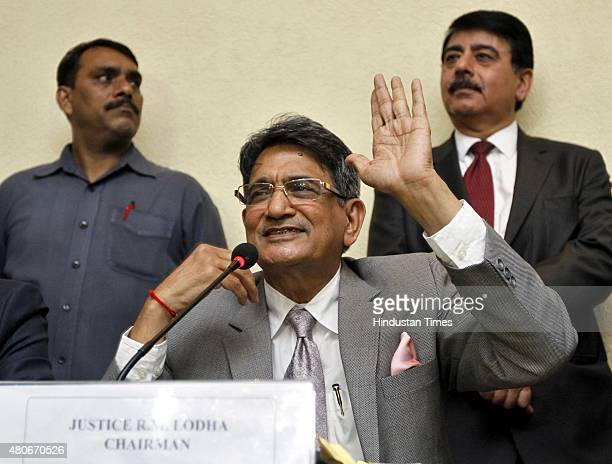 Justice RM Lodha during a press conference for IPL betting verdict pronounced verdict on the spotfixing and betting scandal that hit the Indian...