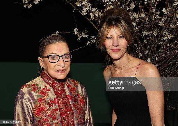 Justice Ruth Bader Ginsberg and Robbie Myers EditorinChief ELLE attend the ELLE and HUGO BOSS Women in Washington Power List Dinner at The Residence...