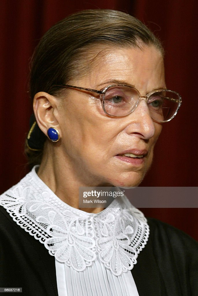 Justice Ruth Bader Ginsburg poses for photographers at the US Supreme Court October 31 2005 in Washington DC Earlier in the day US President George W...