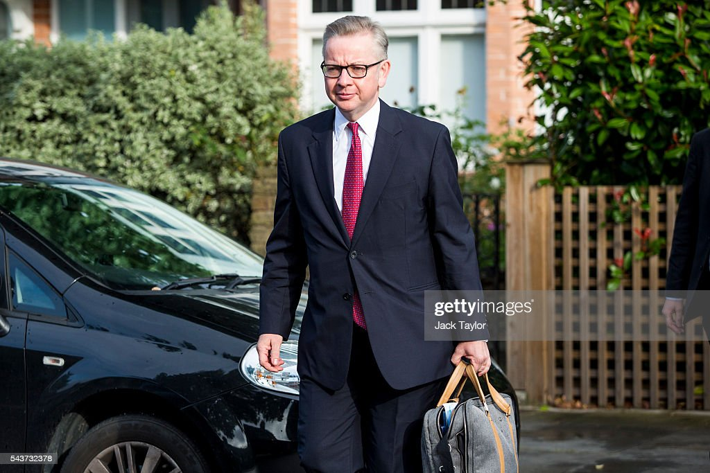 Justice Secretary and leading Brexit campaigner <a gi-track='captionPersonalityLinkClicked' href=/galleries/search?phrase=Michael+Gove&family=editorial&specificpeople=2223709 ng-click='$event.stopPropagation()'>Michael Gove</a> leaves his home in Kensington on June 30, 2016 in London, England. Nominations for MPs to declare their intention to run for the Conservative Party Leadership and therefore British Prime Minister will close by noon today. The current Prime Minister and party leader, David Cameron, announced his resignation the day after the UK voted to leave the European Union.
