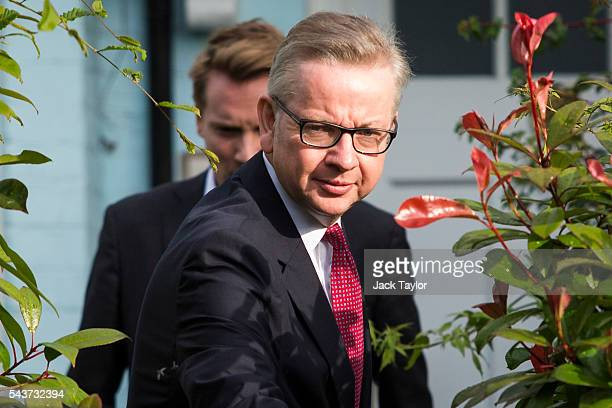 Justice Secretary and leading Brexit campaigner Michael Gove leaves his home in Kensington before announcing his intention to run to be the next...