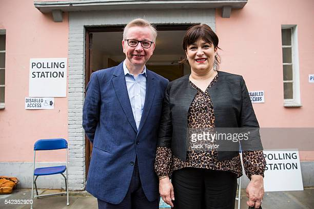 Justice Secretary and prominent 'Vote Leave' campaigner Michael Gove poses with his wife Sarah Vine after voting in the European Union referendum at...