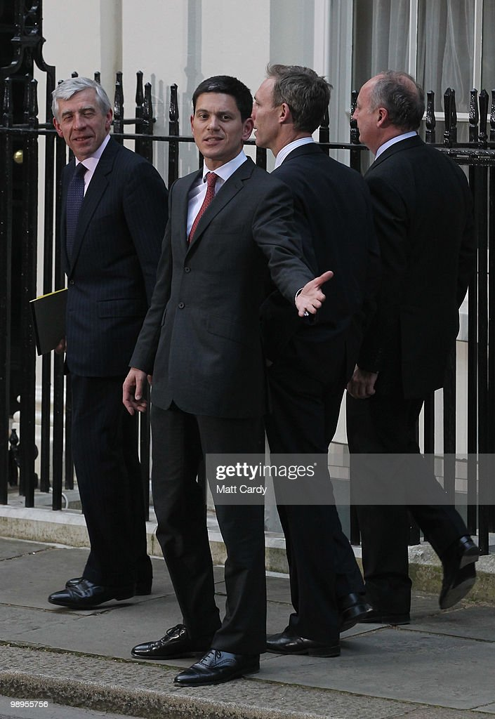 Justice Secretary Jack Straw (L) and Foreign Secretary David Milliband (C) leave Downing Street following a cabinet meeting on May 10, 2010 in London, England. Prime Minister Gordon Brown has announced that he is to stand down as Prime Minister and Labour Party leader. He also said that negotiations with the Liberal Democrats are taking place to try and form a coalition government.