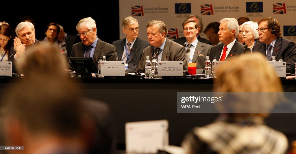Justice Secretary Ken Clarke at the start of the Council of Europe Conference on April 19 2012 in Brighton England Ministers and officials from the...