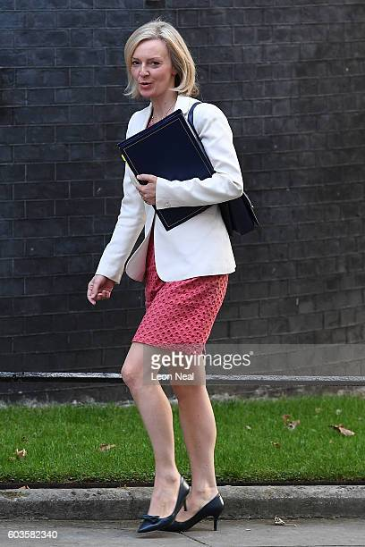 Justice Secretary Liz Truss arrives ahead of the weekly Cabinet meeting in Downing Street on September 13 2016 in London England British Prime...