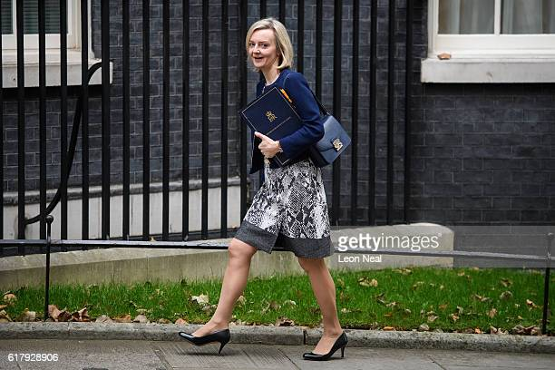 Justice Secretary Liz Truss arrives at number 10 Downing Street ahead of a Cabinet meeting on October 25 2016 in London England The meeting came as...