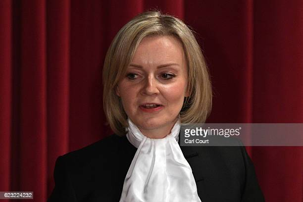 Justice Secretary Liz Truss delivers her speech during the Lord Mayor's Banquet at Guildhall on November 14 2016 in London England The Lord Mayor of...