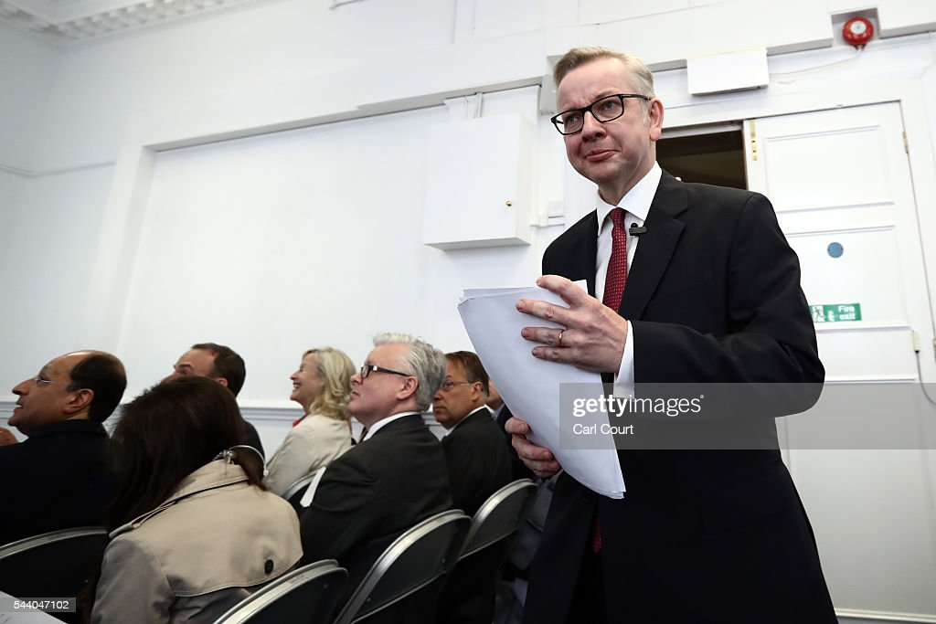 Justice Secretary <a gi-track='captionPersonalityLinkClicked' href=/galleries/search?phrase=Michael+Gove&family=editorial&specificpeople=2223709 ng-click='$event.stopPropagation()'>Michael Gove</a> arrives to speak at a press conference to outline his bid for the Conservative Party leadership on July 1, 2016 in London, England. Mr Gove stated that his decision to stand for Conservative leader is driven by conviction about what is right for the United Kingdom rather than personal ambition.