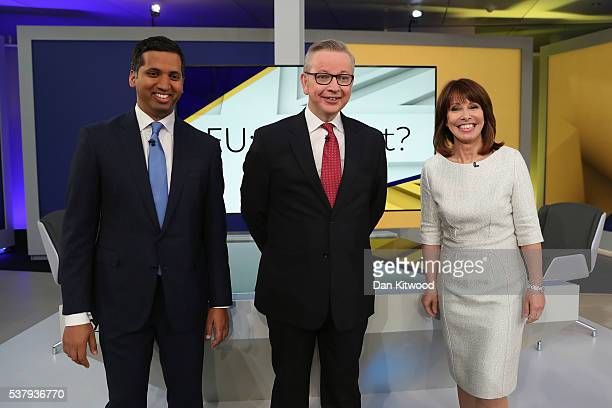 Justice Secretary Michael Gove attends a SKY News interview with Faisal Islam and Kay Burley followed by an audience QA session hosted by Kay Burley...