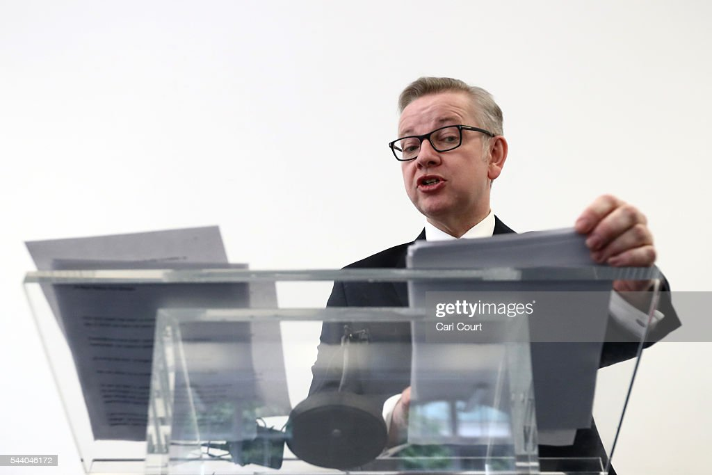 Justice Secretary <a gi-track='captionPersonalityLinkClicked' href=/galleries/search?phrase=Michael+Gove&family=editorial&specificpeople=2223709 ng-click='$event.stopPropagation()'>Michael Gove</a> checks his notes as he speaks during a press conference to outline his bid for the Conservative Party leadership on July 1, 2016 in London, England. Mr Gove stated that his decision to stand for Conservative leader is driven by conviction about what is right for the United Kingdom rather than personal ambition.