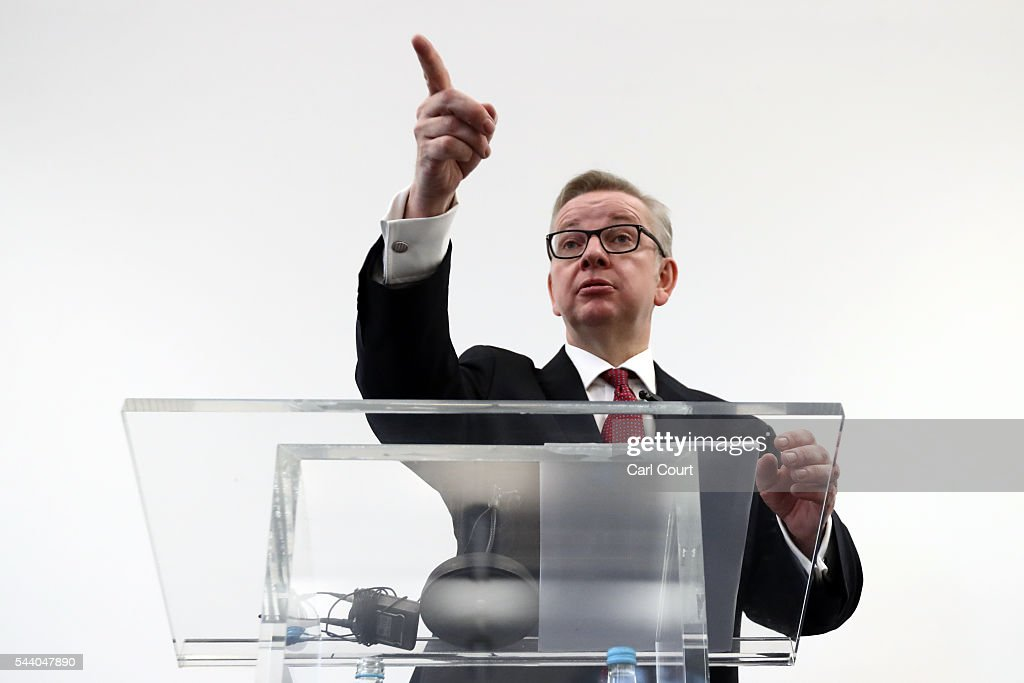 Justice Secretary <a gi-track='captionPersonalityLinkClicked' href=/galleries/search?phrase=Michael+Gove&family=editorial&specificpeople=2223709 ng-click='$event.stopPropagation()'>Michael Gove</a> gestures during a press conference to outline his bid for the Conservative Party leadership on July 1, 2016 in London, England. Mr Gove stated that his decision to stand for Conservative leader is driven by conviction about what is right for the United Kingdom rather than personal ambition.