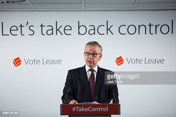 Justice Secretary Michael Gove gives a speech at the 'Vote Leave' campaign headquarters in Westminster on June 8 2016 in London England Mr Gove was...