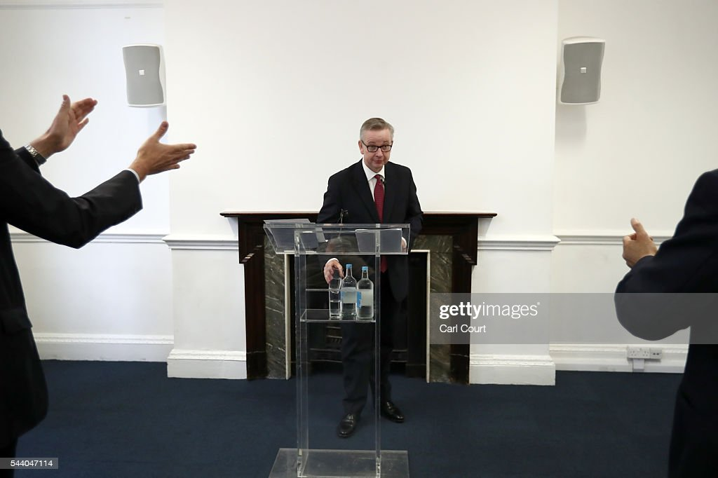 Justice Secretary <a gi-track='captionPersonalityLinkClicked' href=/galleries/search?phrase=Michael+Gove&family=editorial&specificpeople=2223709 ng-click='$event.stopPropagation()'>Michael Gove</a> is applauded by supporters as he speaks during a press conference to outline his bid for the Conservative Party leadership on July 1, 2016 in London, England. Mr Gove stated that his decision to stand for Conservative leader is driven by conviction about what is right for the United Kingdom rather than personal ambition.