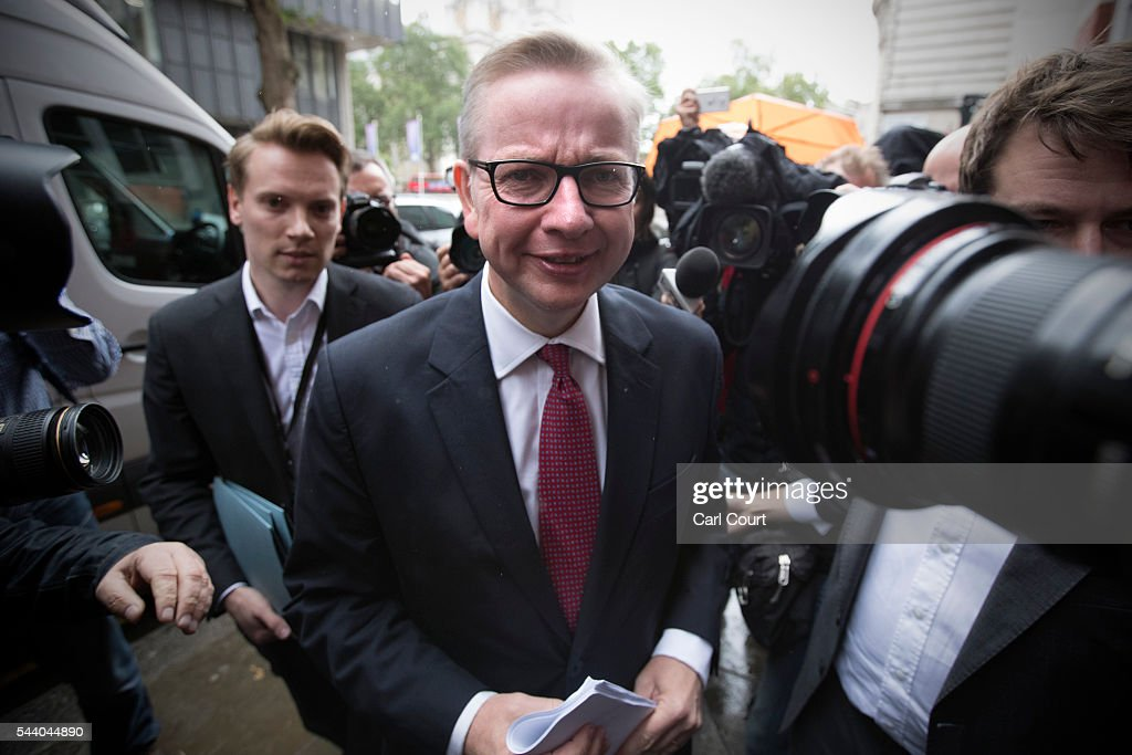 Justice Secretary <a gi-track='captionPersonalityLinkClicked' href=/galleries/search?phrase=Michael+Gove&family=editorial&specificpeople=2223709 ng-click='$event.stopPropagation()'>Michael Gove</a> is surrounded by members of the media as he arrives at a press conference to outline his bid for the Conservative Party leadership on July 1, 2016 in London, England. Mr Gove stated that his decision to stand for Conservative leader is driven by conviction about what is right for the United Kingdom rather than personal ambition.