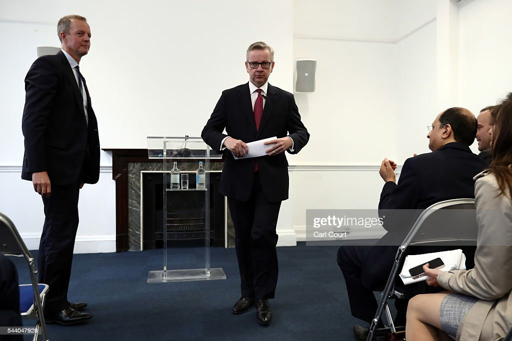 Justice Secretary Michael Gove (C) leaves after a press conference to outline his bid for the Conservative Party leadership on July 1, 2016 in London, England. Mr Gove stated that his decision to stand for Conservative leader is driven by conviction about what is right for the United Kingdom rather than personal ambition.