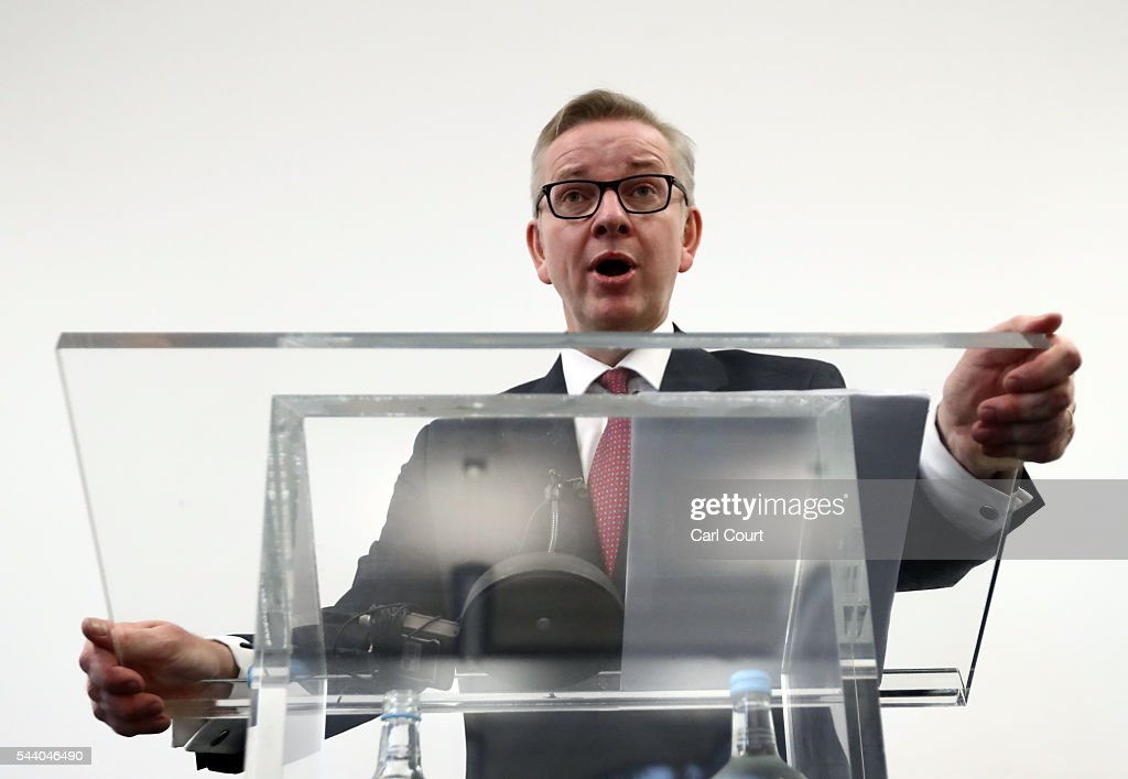 Justice Secretary <a gi-track='captionPersonalityLinkClicked' href=/galleries/search?phrase=Michael+Gove&family=editorial&specificpeople=2223709 ng-click='$event.stopPropagation()'>Michael Gove</a> speaks during a press conference to outline his bid for the Conservative Party leadership on July 1, 2016 in London, England. Mr Gove stated that his decision to stand for Conservative leader is driven by conviction about what is right for the United Kingdom rather than personal ambition.
