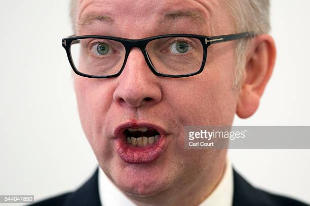 Justice Secretary Michael Gove speaks during a press conference to outline his bid for the Conservative Party leadership on July 1 2016 in London...