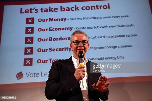 Justice Secretary Michael Gove talks to supporters during a Vote Leave rally on June 4 2016 in London England Boris Johnson and the Vote Leave...