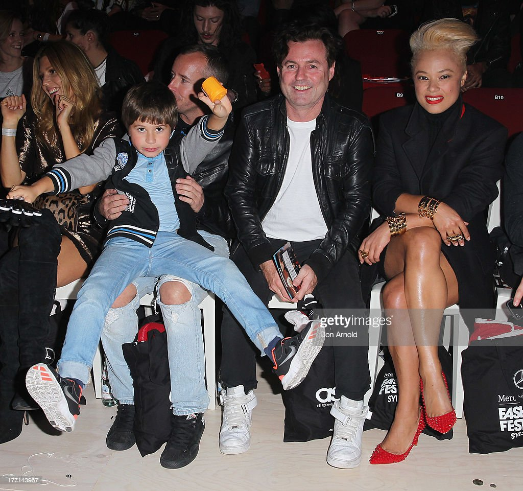 Justice Single Black Angus and Connie Mitchell watch the General Pants show during MercedesBenz Fashion Festival Sydney 2013 at Sydney Town Hall on...
