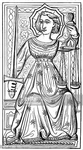 'Justice' tarot card from the Charles VI or Gringonneur deck 14th century Taken from a deck in the Bibliothèque Impériale Paris A wood engraving from...