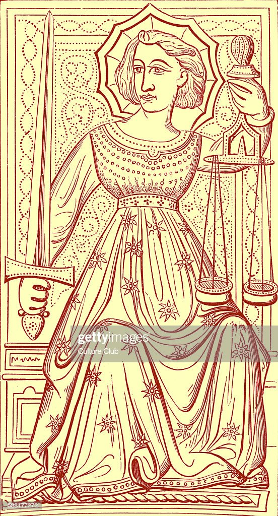 Justice tarot card reproduced from a deck said to have belonged to Charles VI King of France It is numbered VIII or IX depending on the deck and is...