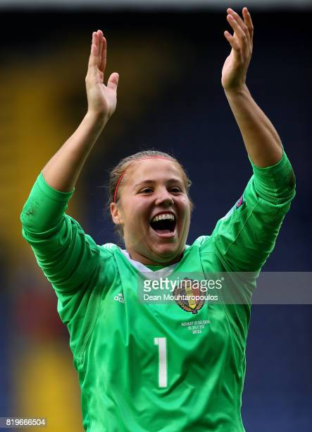 Justien Odeurs of Belgium celebrates following the UEFA Women's Euro 2017 Group A match between Norway and Belgium at Rat Verlegh Stadion on July 20...