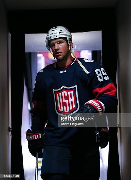 Justin Abdelkader of Team USA leaves the ice after warm up prior to the game against Team Canada during the World Cup of Hockey 2016 at Air Canada...
