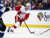 Justin Abdelkader of the Detroit Red Wings against the Tampa Bay Lightning at the Tampa Bay Times Forum on February 8 2014 in Tampa Florida