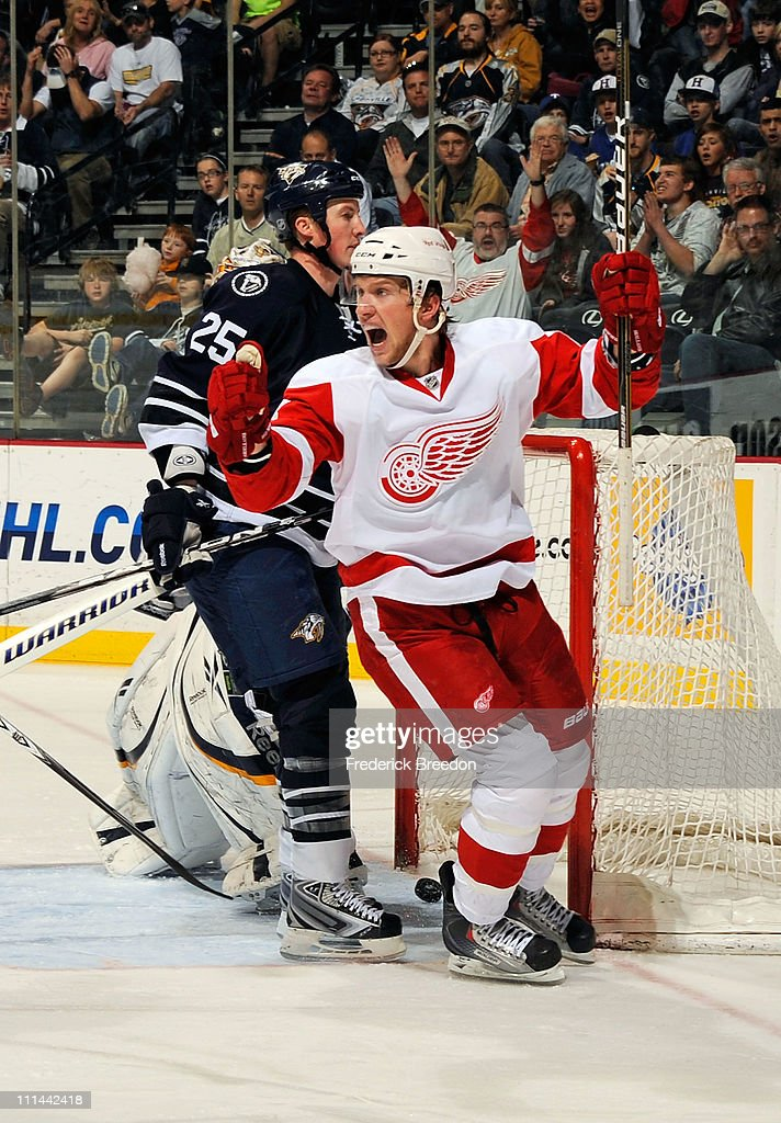 Justin Abdelkader #8 of the Detroit Red Wings celebrates after scoring the game tying goal against the Nashville Predators on April 2, 2011 at the Bridgestone Arena in Nashville, Tennessee.