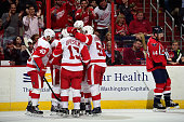 Justin Abdelkader of the Detroit Red Wings celebrates with his teammates after scoring a goal in the third period during an NHL Game against the...