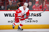Justin Abdelkader of the Detroit Red Wings in action during the NHL game against the Arizona Coyotes at Gila River Arena on January 14 2016 in...