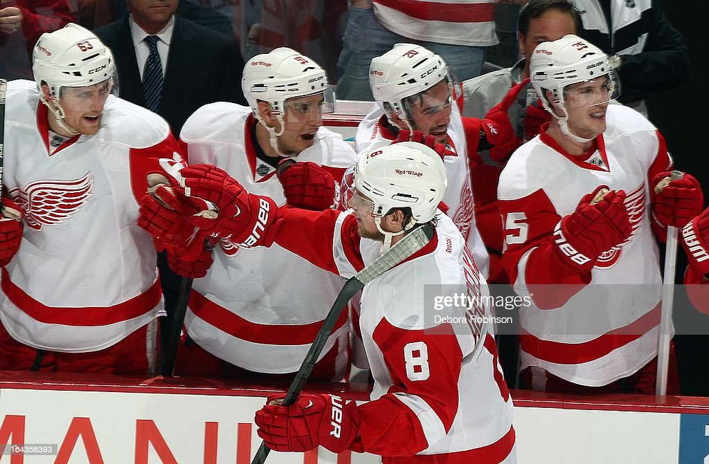 Justin Abdelkader #8 of the Detroit Red Wings is congratulated by teammates on his hat trick during the 2nd period against the Anaheim Ducks. March 22, 2013 at Honda Center in Anaheim, California.