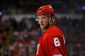 Justin Abdelkader of the Detroit Red Wings looks to the benches during the third period against the Tampa Bay Lightning in Game Three of the Eastern...
