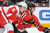 Justin Abdelkader of the Detroit Red Wings puts pressure on Brandon Saad of the Chicago Blackhawks as Saad takes the puck toward Detroit's goal...