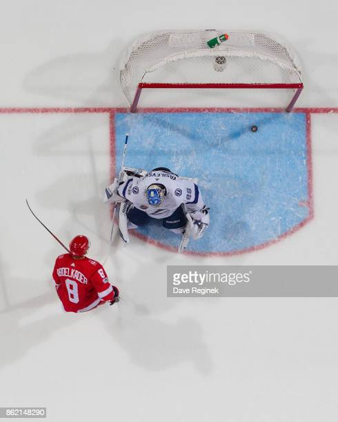 Justin Abdelkader of the Detroit Red Wings scores a penalty shot goal in the second period on goaltender Andrei Vasilevskiy of the Tampa Bay...