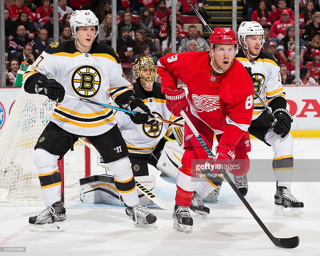 <a gi-track='captionPersonalityLinkClicked' href=/galleries/search?phrase=Justin+Abdelkader&family=editorial&specificpeople=2271858 ng-click='$event.stopPropagation()'>Justin Abdelkader</a> #8 of the Detroit Red Wings sets up in front of <a gi-track='captionPersonalityLinkClicked' href=/galleries/search?phrase=Tuukka+Rask&family=editorial&specificpeople=716723 ng-click='$event.stopPropagation()'>Tuukka Rask</a> #40 of the Boston Bruins as teammates <a gi-track='captionPersonalityLinkClicked' href=/galleries/search?phrase=Torey+Krug&family=editorial&specificpeople=6670036 ng-click='$event.stopPropagation()'>Torey Krug</a> #47 and <a gi-track='captionPersonalityLinkClicked' href=/galleries/search?phrase=Kevan+Miller&family=editorial&specificpeople=8236132 ng-click='$event.stopPropagation()'>Kevan Miller</a> #86 defend during an NHL game at Joe Louis Arena on February 14, 2016 in Detroit, Michigan.