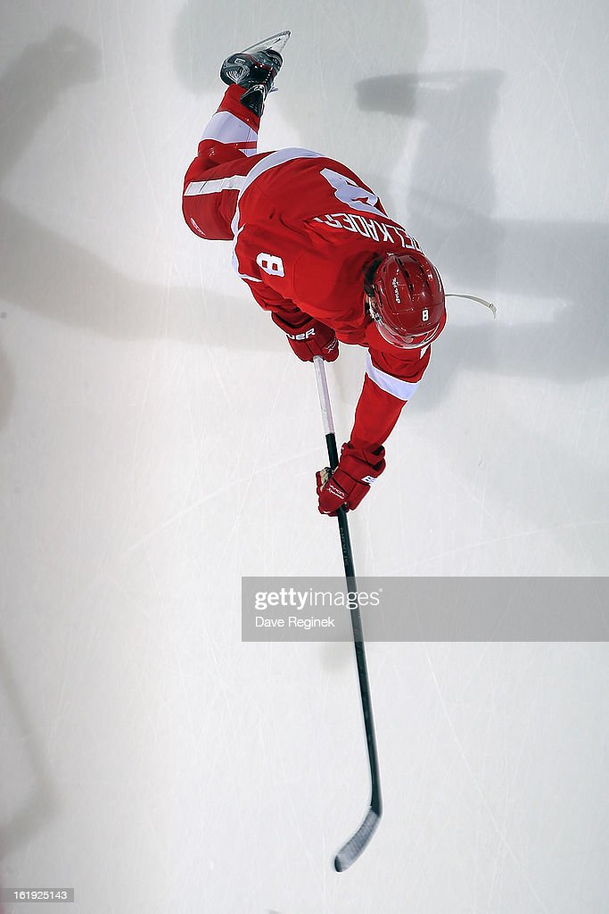 Justin Abdelkader #8 of the Detroit Red Wings shoots the puck in warm ups before a NHL game against the Anaheim Ducks on February 15, 2013 at Joe Louis Arena in Detroit, Michigan. Anaheim defeated Detroit 5-2