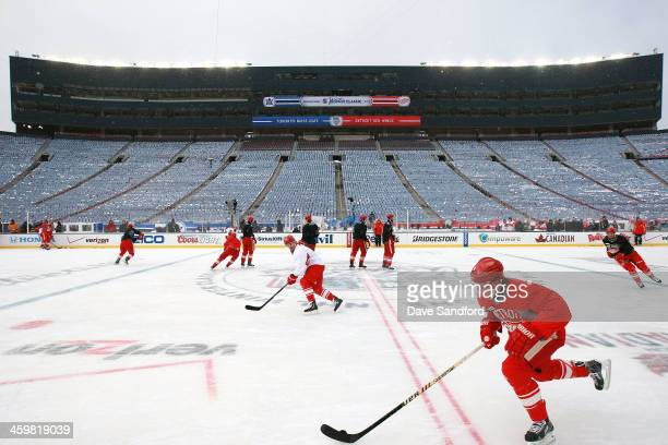 Justin Abdelkader of the Detroit Red Wings skates during 2014 Bridgestone NHL Winter Classic team practice session on December 31 2013 at Michigan...