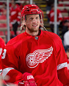Justin Abdelkader of the Detroit Red Wings skates in warmups prior to the NHL game against the Tampa Bay Lightning at Joe Louis Arena on October 13...