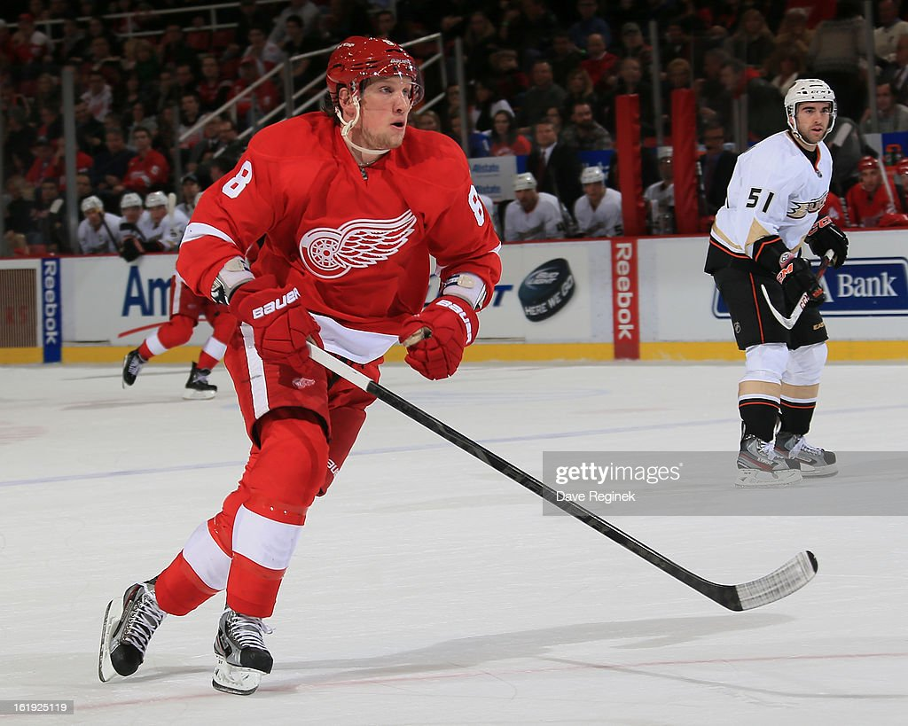 Justin Abdelkader #8 of the Detroit Red Wings skates up ice during a game against the Anaheim Ducks on February 15, 2013 at Joe Louis Arena in Detroit, Michigan. Anaheim defeated Detroit 5-2
