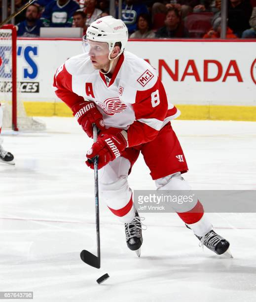 Justin Abdelkader of the Detroit Red Wings skates up ice with the puck during their NHL game against the Vancouver Canucks at Rogers Arena February...