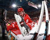 Justin Abdelkader of the Detroit Red Wings stretches on the bench during pre game warmups before a NHL game against the Anaheim Ducks on October 11...