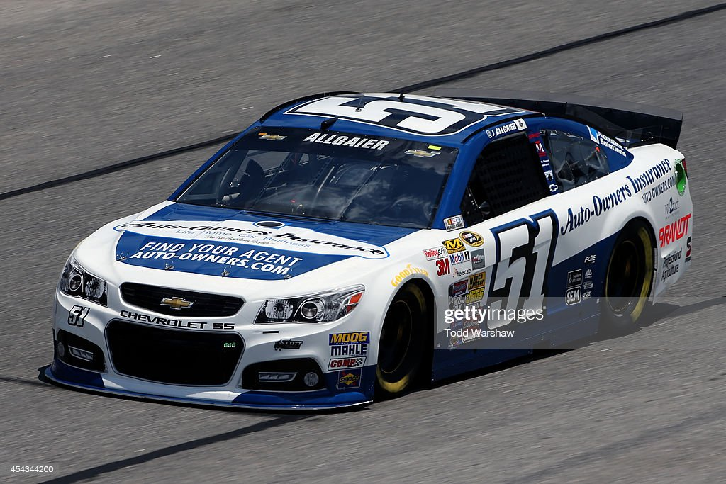 Justin Allgaier driver of the AutoOwners Insurance Chevrolet practices for the NASCAR Sprint Cup Series OralB USA 500 at Atlanta Motor Speedway on...