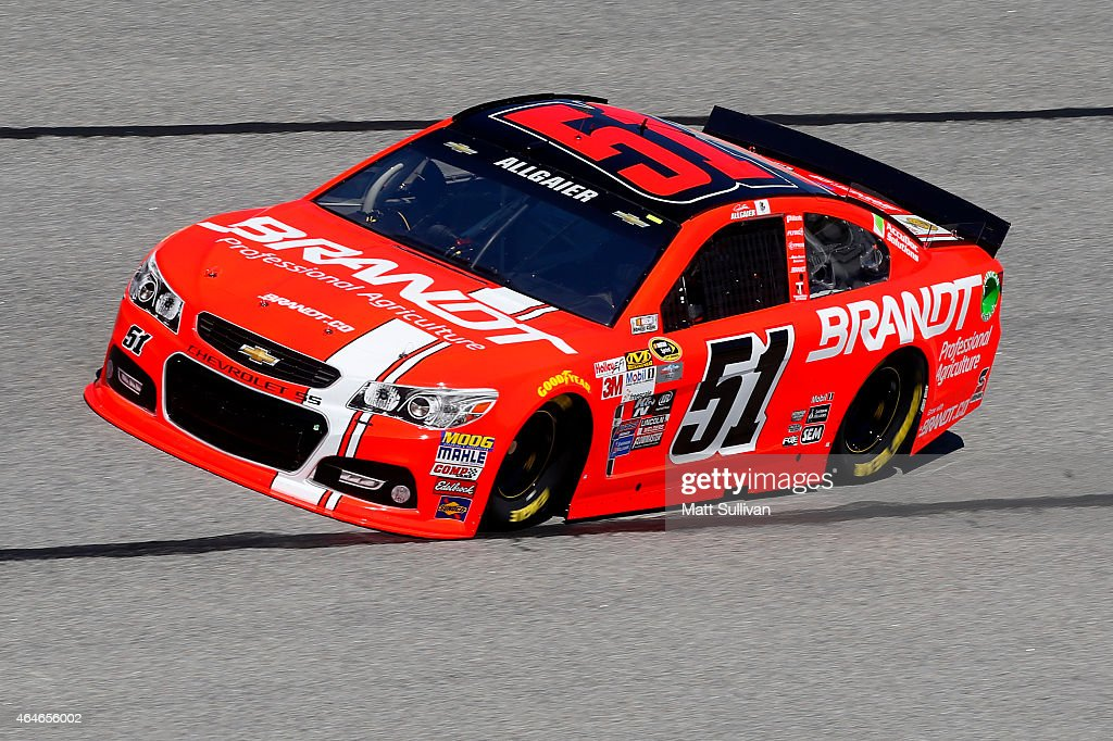 Justin Allgaier driver of the Brandt Chevrolet drives during practice for the NASCAR Sprint Cup Series Folds of Honor QuikTrip 500 at Atlanta Motor...