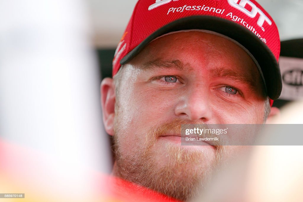 Justin Allgaier driver of the BRANDT Chevrolet during practice for the NASCAR XFINITY Series Zippo 200 At The Glen at Watkins Glen International on...