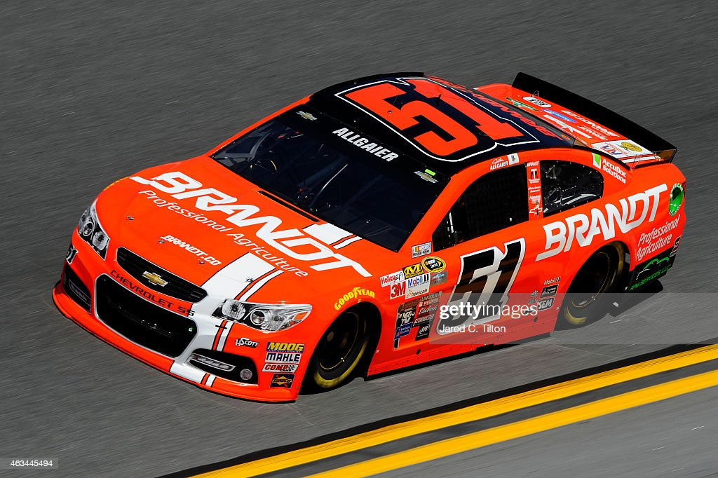 Justin Allgaier driver of the Brandt Chevrolet practices for the 57th Annual Daytona 500 at Daytona International Speedway on February 14 2015 in...