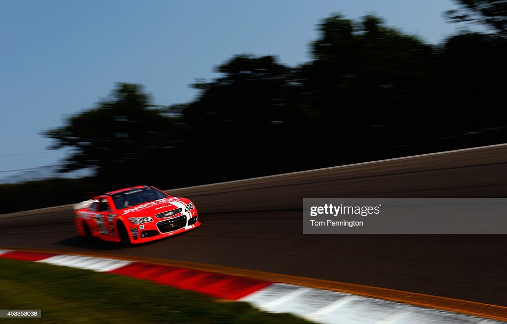 <a gi-track='captionPersonalityLinkClicked' href=/galleries/search?phrase=Justin+Allgaier&family=editorial&specificpeople=5380573 ng-click='$event.stopPropagation()'>Justin Allgaier</a>, driver of the #51 Brandt Professional Agriculture Chevrolet, practices for the NASCAR Sprint Cup Series Cheez-It 355 at Watkins Glen International on August 8, 2014 in Watkins Glen, New York.