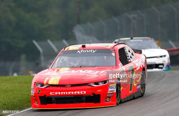 Justin Allgaier driver of the BRANDT Professional Agriculture Chevrolet practices for the NASCAR XFINITY Series MidOhio Challenge at MidOhio Sports...