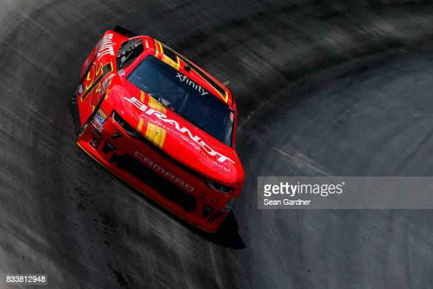 Justin Allgaier driver of the BRANDT Professional Agriculture Chevrolet practices for the NASCAR Xfinity Series Food City 300 at Bristol Motor...